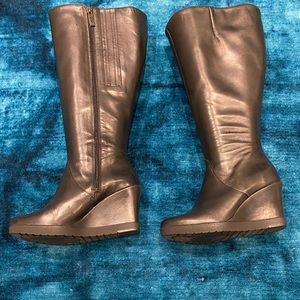 Duo Boots Leather Wedge Knee High Boots